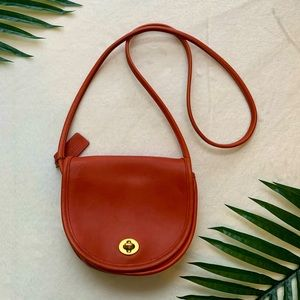 Vintage Coach 9825 Red-Orange Mini Crossbody Bag